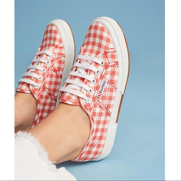 47ea57bc3ef Anthropologie Superga RED gingham SNEAKERS white